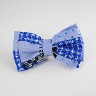Papillon uomo azzurro patchwork