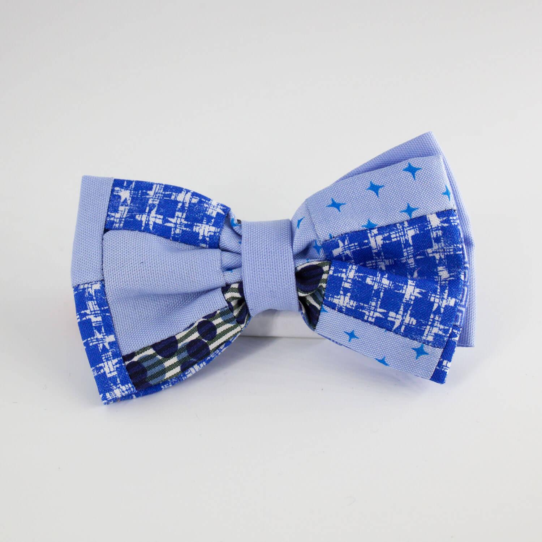 Papillon uomo azzurro patchwork - L'Araba Fenice