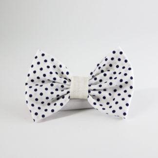 Papillon uomo in tessuto di cotone bianco a pois blu
