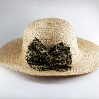 Cappello in paglia con fiocco doppio